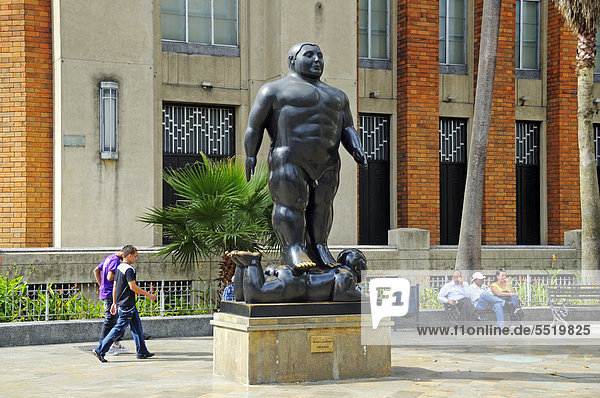 Sculpture by the artist and sculptor Fernando Botero in Plaza Botero  Medellin  Colombia  South America  Latin America  America