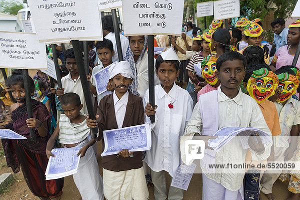 Demonstration against child labour  Karur  Tamil Nadu  India  Asia