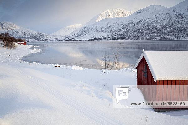 Holzhütten am Nordfjord  Troms¯ oder Tromsö  Norwegen  Europa