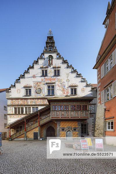 Nordfassade Altes Rathaus am Bismarckplatz  Lindau am Bodensee  Schwaben  Bayern  Deutschland  Europa  ÖffentlicherGrund