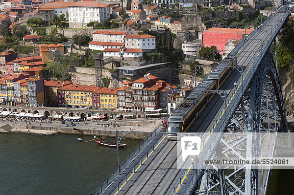 View over the Douro river and the Dom Luis I bridge  Porto  Unesco World Heritage Site  Portugal  Europe