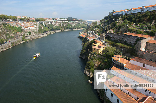 Aerial view over the Douro river  Porto  Unesco World Heritage Site  Portugal  Europe