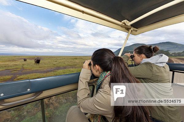 Zwei Mädchen  ca. 13 und 18 Jahre  beobachten durch ein Fernglas Büffel  Lake Nakuru Nationalpark  Kenia  Ostafrika  Afrika  ÖffentlicherGrund