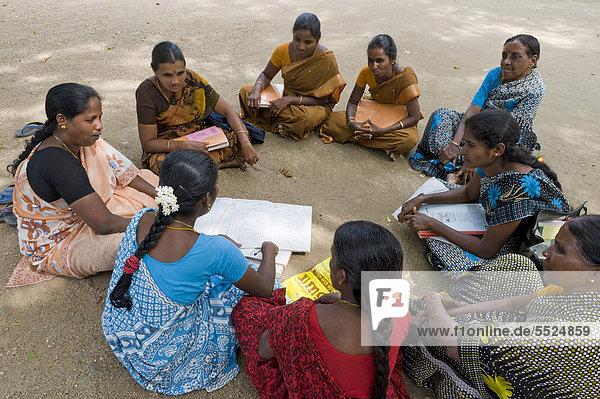 Meeting of a women's self-help group  social workers  Manmangalam  Patha Kalliyamman Temple near Karur  Tamil Nadu  South India  Asia