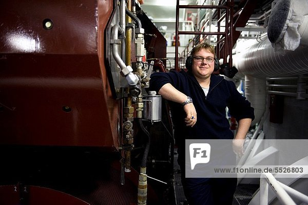 The second engineer of container-vessel MV Flintercape controls the engine-room of the vessel during absence of the first engineer. The ship is sailing from Rotterdam  Netherlands to Sundsvall  Sweden.