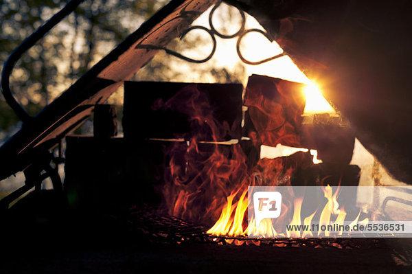Brennen von Ziegelsteinen auf dem Grill