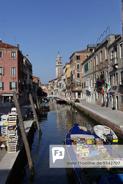 Kanal  Fondamenta Alberti  Stadtteil Dorsoduro  Venedig  UNESCO Weltkulturerbe  Venetien  Italien  Europa