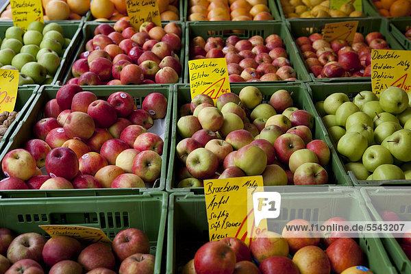 Äpfel zum Verkauf auf dem Hauptmarkt in Nürnberg  Bayern  Deutschland  Europa
