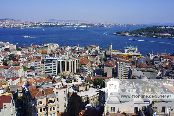 View from Galata Tower over the city and Bosphorus  Istanbul  Turkey