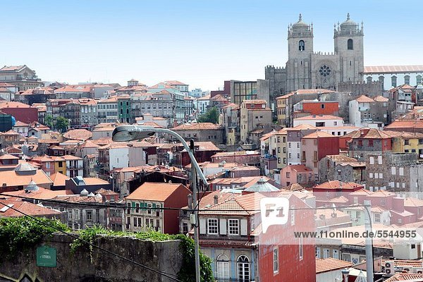Old town of Porto from above  Ribeira quarter Portugal