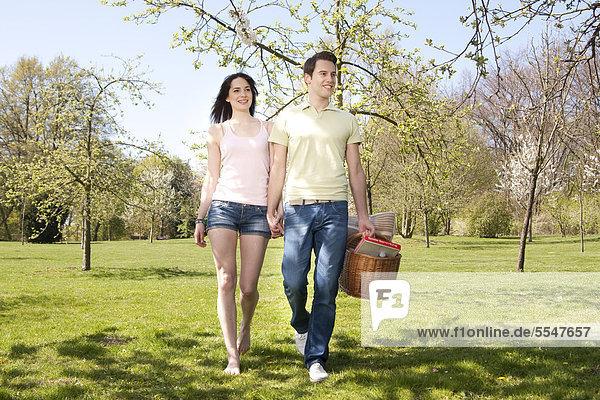 Junges Paar geht Hand in Hand mit Picknickkorb auf einer Wiese