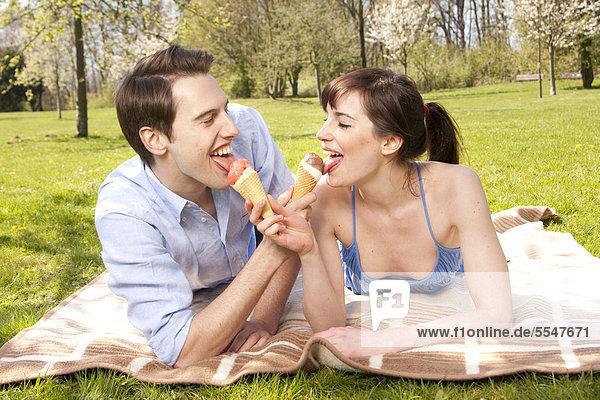 Junges Paar auf einer Wiese leckt an Eiswaffeln Junges Paar auf einer Wiese leckt an Eiswaffeln