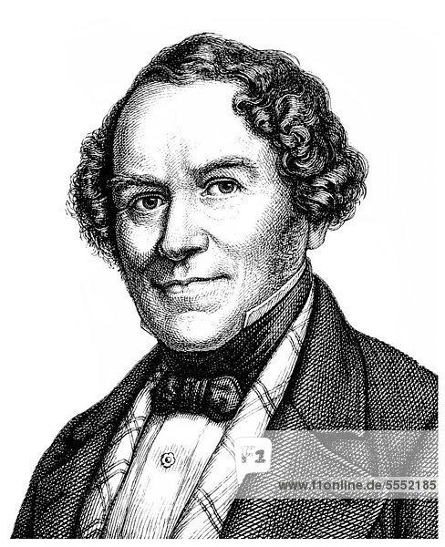 Historische Zeichnung aus dem 19. Jahrhundert  Portrait von Conradin Kreutzer  1780 - 1849  ein deutscher Musiker  Dirigent und Komponist der Frühromantik und des musikalischen Biedermeier