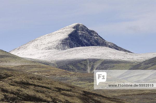 Gipfel des Hogronden  mit Schnee bedeckt  Rondane Nationalpark  Norwegen  Europa