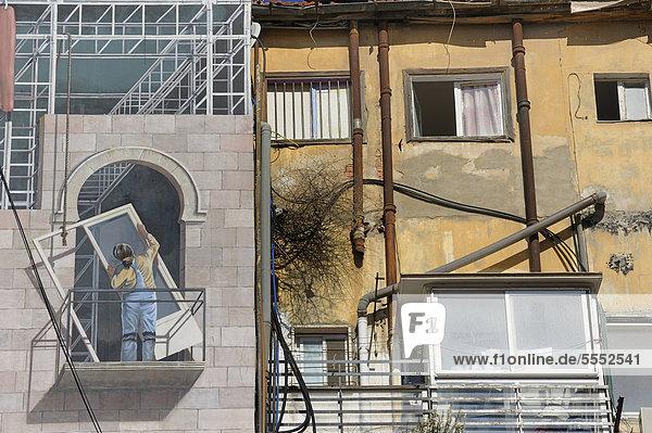 Jerusalem Hauptstadt Detail Details Ausschnitt Ausschnitte Gebäude Wandbild Naher Osten Israel