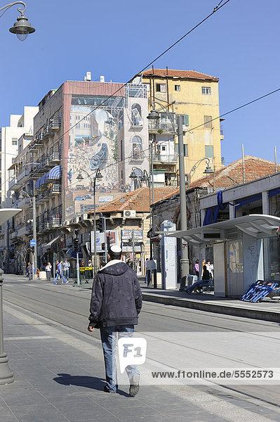 Jerusalem Hauptstadt zeigen Gebäude Geländer Kleidung Straßenbahn Wandbild Naher Osten Kipa Israel Linie neu