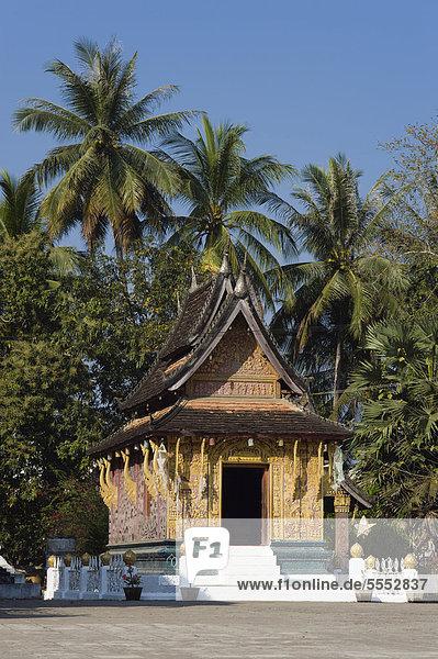 Rote Kapelle  Ho Phra None  Wat Xieng Thong Tempel  Luang Prabang  Laos  Indochina  Asien