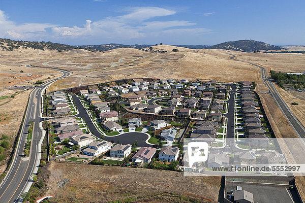 Aerial view of a suburb  El Dorado Hills  California  USA  North America