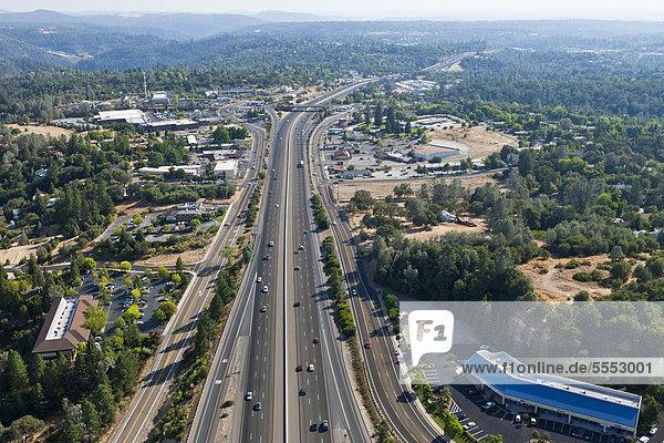 Interstate 80 highway  heading south  aerial view east of Sacramento  Auburn  California  USA  North America