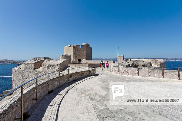 Ch'teau d'If  prison of the Count of Monte Cristo according to Alexandre Dumas  on the island Ile d'If  bay of Marseilles  France  Europe