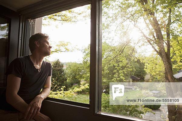 Man admiring landscape from window
