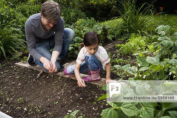 Vater und Tochter gärtnern zusammen