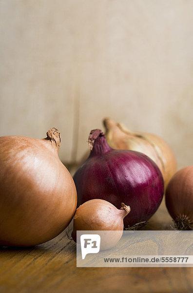 Bündel von Zwiebeln auf dem Tisch
