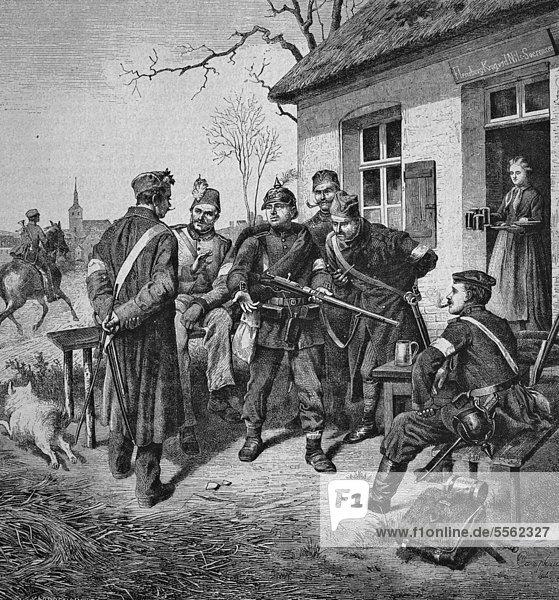 Demonstration des Zündnadelgewehrs  historischer Holzschnitt  circa 1870