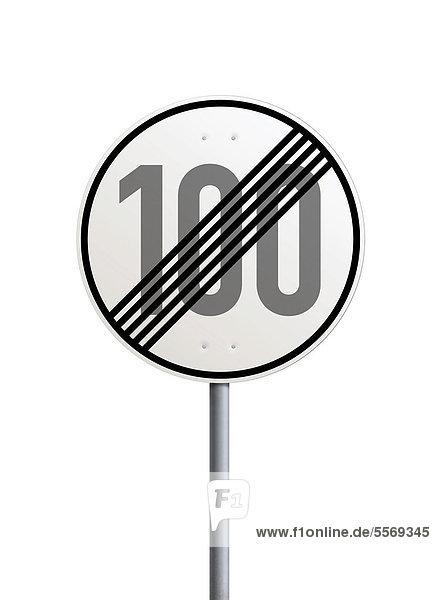 Verkehrsschild  Ende der zulässigen Höchstgeschwindigkeit 100 km h