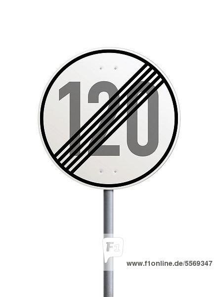 Verkehrsschild  Ende der zulässigen Höchstgeschwindigkeit 120 km h