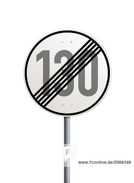 Verkehrsschild  Ende der zulässigen Höchstgeschwindigkeit 130 km h