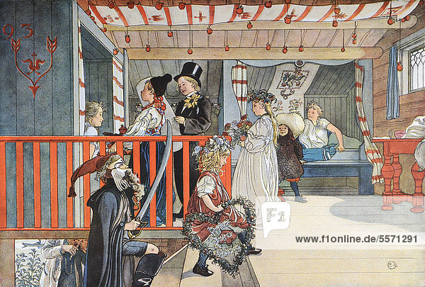 Name Day  illustration in The House in the Sun by Carl Larsson  1917