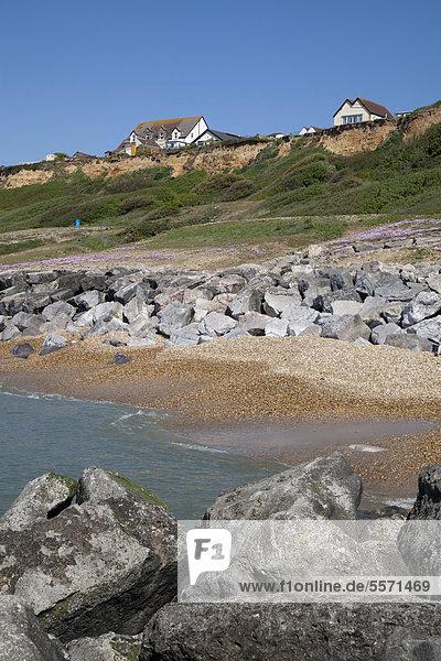 Cliff top houses and rock stone groynes sea defences at Barton on Sea  Hampshire  England  United Kingdom  Europe
