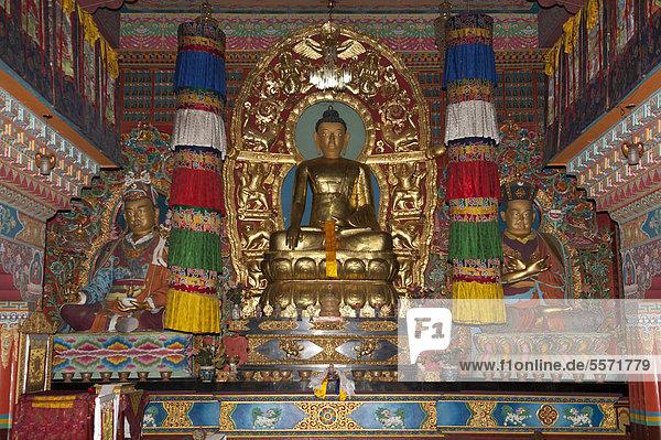 Tibetischer Buddhismus  Karma-Kagyü-Linie  Altar mit Buddhafigur  Kloster Lingdum Gompa  bei Gangtok  Sikkim  Himalaja  Indien  Südasien  Asien