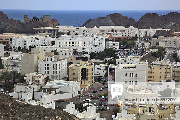 Overlooking the historic town centre of Muscat  Oman  Arabian Peninsula  Middle East  Asia