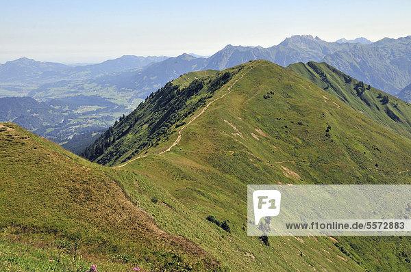 Wanderweg vom Fellhorn zum Söllereck  Allgäuer Alpen  Bayern  Deutschland  Europa  ÖffentlicherGrund