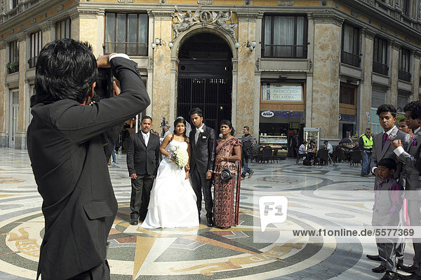 Italy  Campania  Naples  wedding photo in the Galleria Umberto I