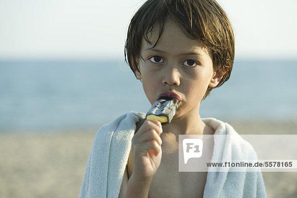 Junge isst Eis am Stiel  Portrait Junge isst Eis am Stiel, Portrait