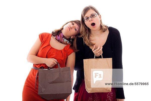 Frau  müde  kaufen  2  jung