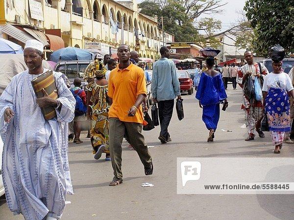 Street scene Banjul capital of The Gambia