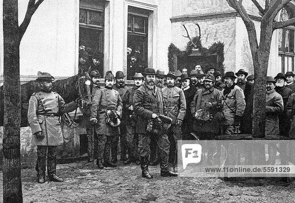 Der Kronprinz des deutschen Reiches und seine Jagdgesellschaft  historischer Holzstich  1886
