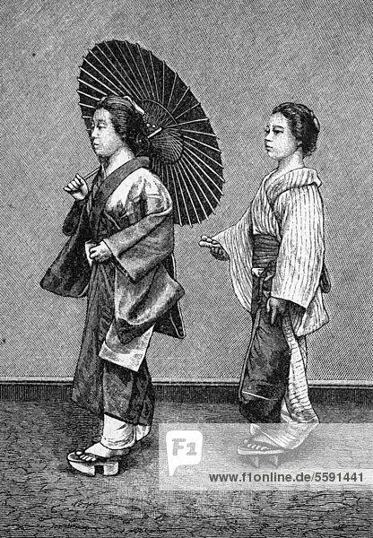 Japanisches Frauenleben  Frau mit Dienerin auf der Straße  historischer Stich  1883