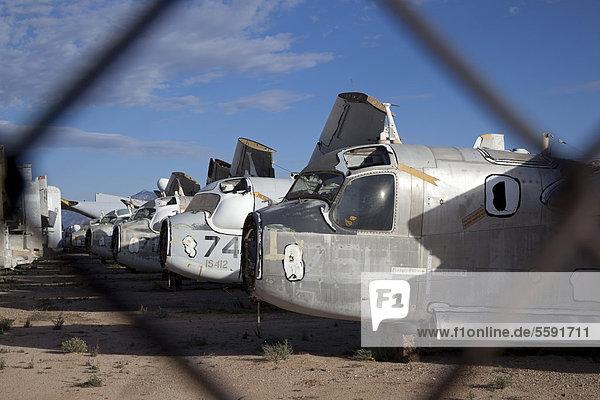A military aircraft salvage yard next to Davis-Monthan Air Force Base  Tucson  Arizona  USA