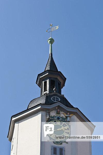 Turmuhr mit Figurenspiel  Rathausturm  Rathaus  Marktplatz  Markt  Jena  Thüringen  Deutschland  Europa