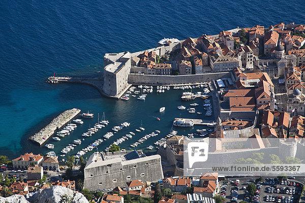 Kroatien  Dubrovnik  Hafenansicht mit Revelin-Festung