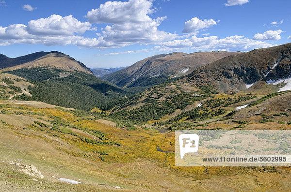 Blick von der Trail Ridge Road  Rocky Mountain National Park  Colorado  USA