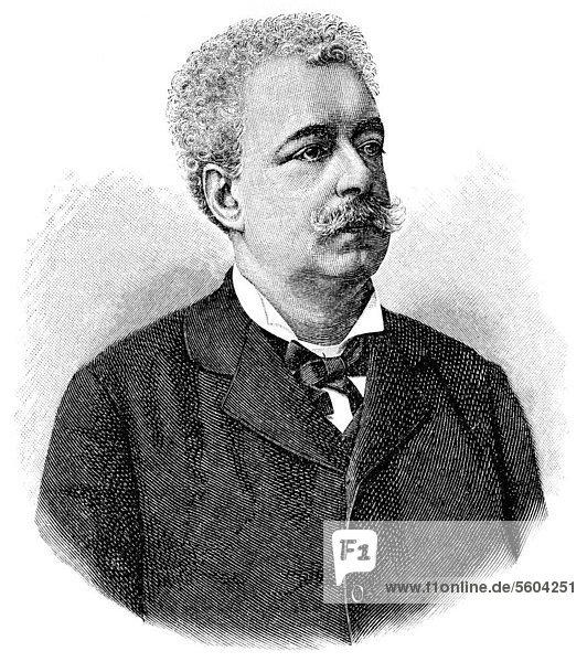 Historische Zeichnung aus dem 19. Jahrhundert  Portrait von Edmondo De Amicis  1846 - 1908  ein italienischer Schriftsteller