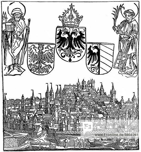 Historische Zeichnung aus dem 19. Jahrhundert  mittelalterliche Stadtansicht von Nürnberg um 1450  Bayern  Deutschland Historische Zeichnung aus dem 19. Jahrhundert, mittelalterliche Stadtansicht von Nürnberg um 1450, Bayern, Deutschland