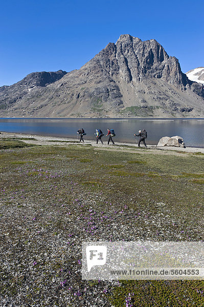 Group of hikers at a lake near Tasiilaq or Ammassalik  East Greenland  Greenland