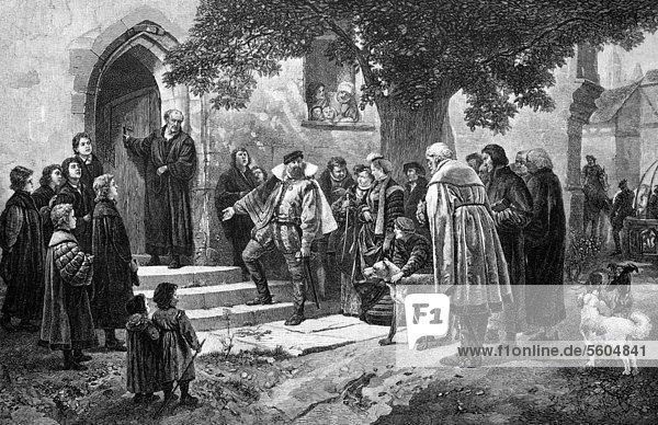 Christoph der Erste von Württemberg besucht ein zur Schule umgewandeltes Kloster  historischer Stich  1883